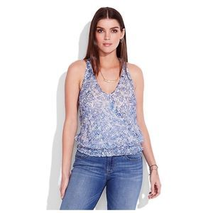 Lucky Brand Blue Paxi Tank T-Back printed